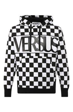 Хлопковое худи с логотипом бренда Versus Versace черно-белый   Фото №1