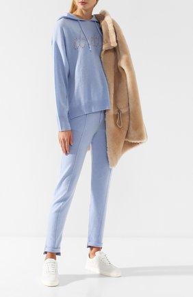 Пуловер с капюшоном из смеси шерсти и кашемира Max&Moi светло-голубой | Фото №1