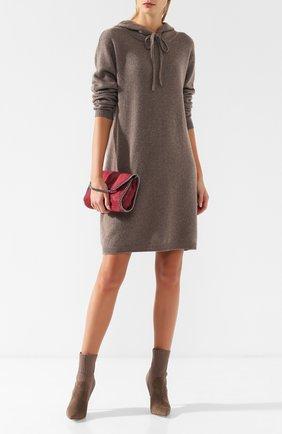 Платье с капюшоном из смеси кашемира и шерсти Max&Moi коричневое | Фото №1