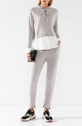 Пуловер с капюшоном из смеси шерсти и кашемира Max&Moi светло-серый | Фото №1