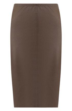 Кожаная юбка-карандаш Max&Moi коричневая | Фото №1
