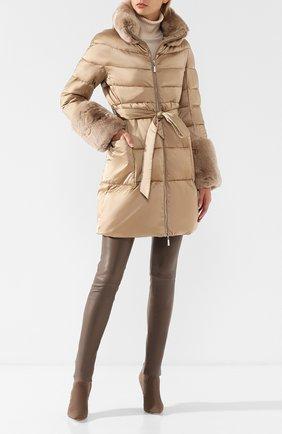 Стеганая куртка с отделкой из меха кролика Max&Moi бежевая | Фото №1