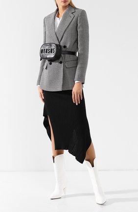 Поясная сумка с логотипом бренда Versus Versace черно-белая   Фото №1