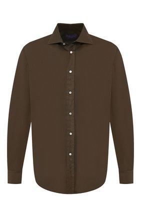 Мужская хлопковая рубашка с воротником кент RALPH LAUREN хаки цвета, арт. 790721005 | Фото 1