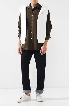 Мужская хлопковая рубашка с воротником кент RALPH LAUREN хаки цвета, арт. 790721005 | Фото 2