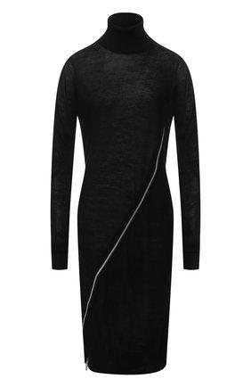 Шерстяное платье на молнии с воротником-стойкой Sacai черное | Фото №1