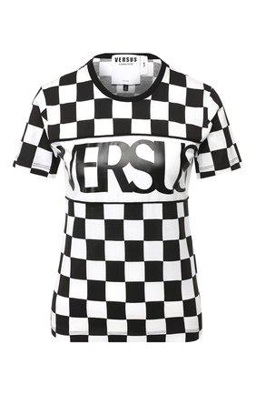 Хлопковая футболка с логотипом бренда Versus Versace черно-белая   Фото №1