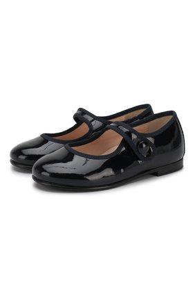 Детские лаковые туфли с перемычкой Beberlis синего цвета | Фото №1