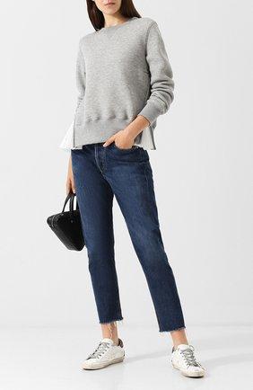 Хлопковый пуловер с круглым вырезом и контрастной вставкой Sacai серый | Фото №1