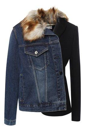 Хлопковая куртка асимметричного кроя Sacai синяя | Фото №1