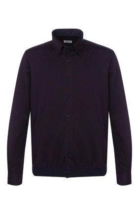 Мужская хлопковая рубашка с воротником кент ZILLI темно-синего цвета, арт. MFQ-01701-64021/RZ01   Фото 1