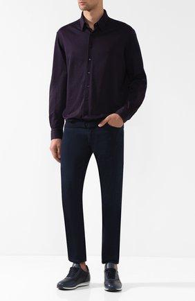 Мужская хлопковая рубашка с воротником кент ZILLI темно-синего цвета, арт. MFQ-01701-64021/RZ01   Фото 2