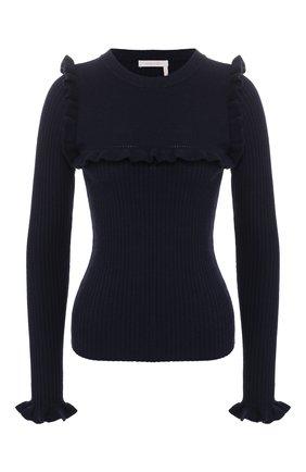 Шерстяной пуловер с оборками See by Chloé синий   Фото №1
