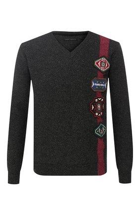 Хлопковый пуловер с нашивками Frankie Morello темно-серый | Фото №1