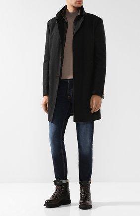 Однобортное пальто из смеси шерсти и кашемира Windsor темно-серого цвета | Фото №1