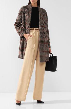 Шерстяное пальто с отложным воротником Windsor разноцветного цвета | Фото №1