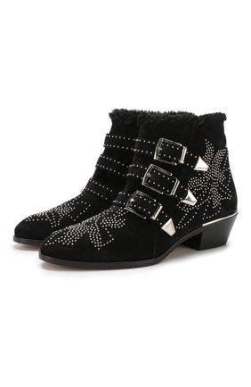 Женские замшевые ботинки susanna CHLOÉ черного цвета, арт. CHC18W13438 | Фото 1