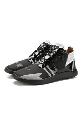 Кожаные кроссовки Runner на шнуровке Giuseppe Zanotti Design черно-белые | Фото №1