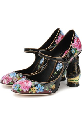Лаковые туфли Матрешка на фигурном каблуке | Фото №1