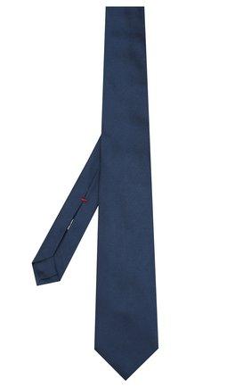 Шелковый галстук Isaia темно-синего цвета | Фото №2