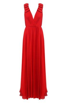 Шелковое платье-макси с глубоким вырезом | Фото №1
