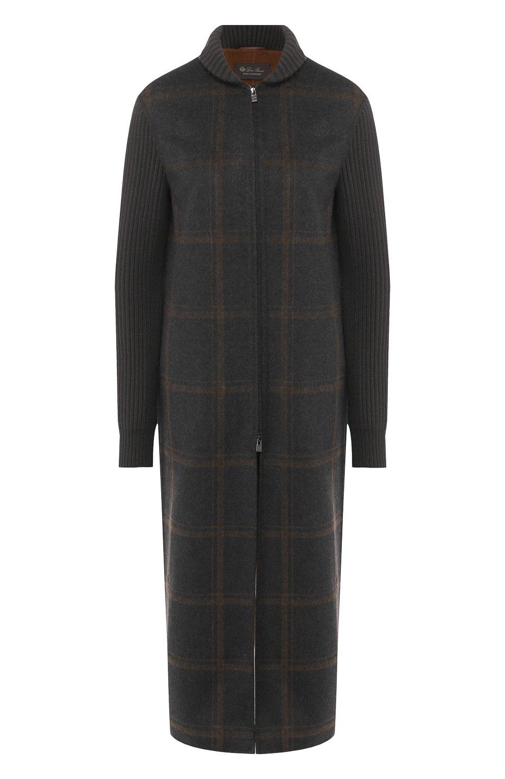 Женское кашемировое пальто на молнии LORO PIANA темно-серого цвета, арт. FAI2068   Фото 1