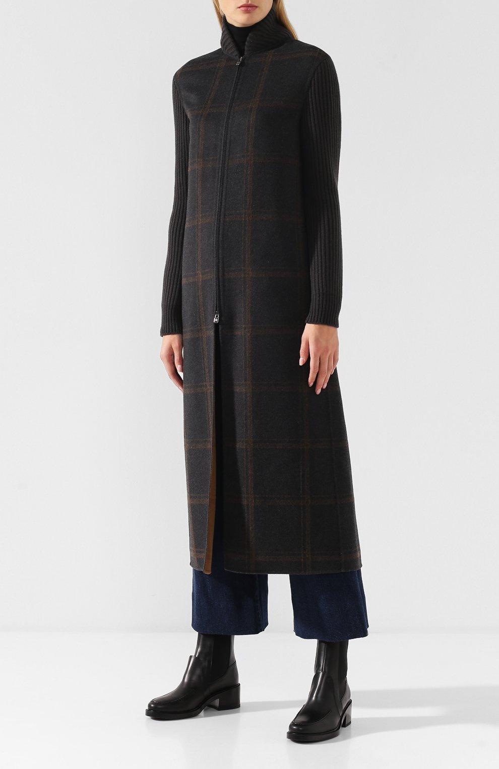 Женское кашемировое пальто на молнии LORO PIANA темно-серого цвета, арт. FAI2068   Фото 3