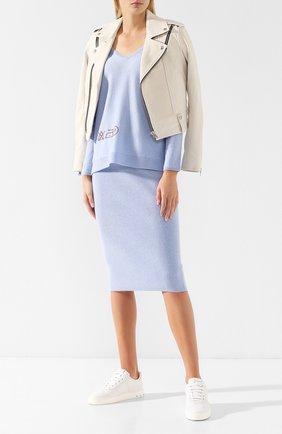 Пуловер из смеси шерсти и кашемира Max&Moi светло-голубой | Фото №1