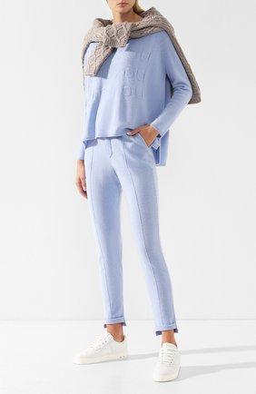 Кашемировый пуловер с круглым вырезом Max&Moi светло-голубой | Фото №1