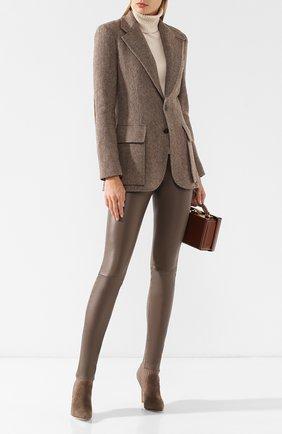 Кожаные леггинсы с эластичным поясом Max&Moi светло-серые | Фото №1
