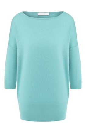Однотонный пуловер из смеси кашемира и шелка Cruciani бирюзовый | Фото №1