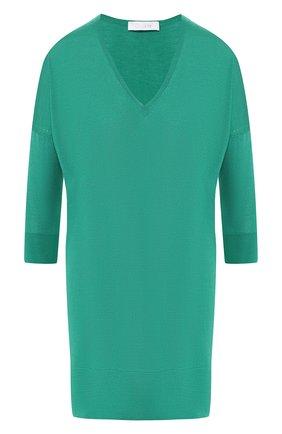 Мини-платье из смеси кашемира и шелка Cruciani зеленое | Фото №1