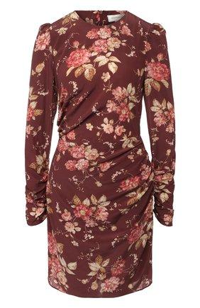Шелковое мини-платье с принтом Zimmermann бордовое | Фото №1