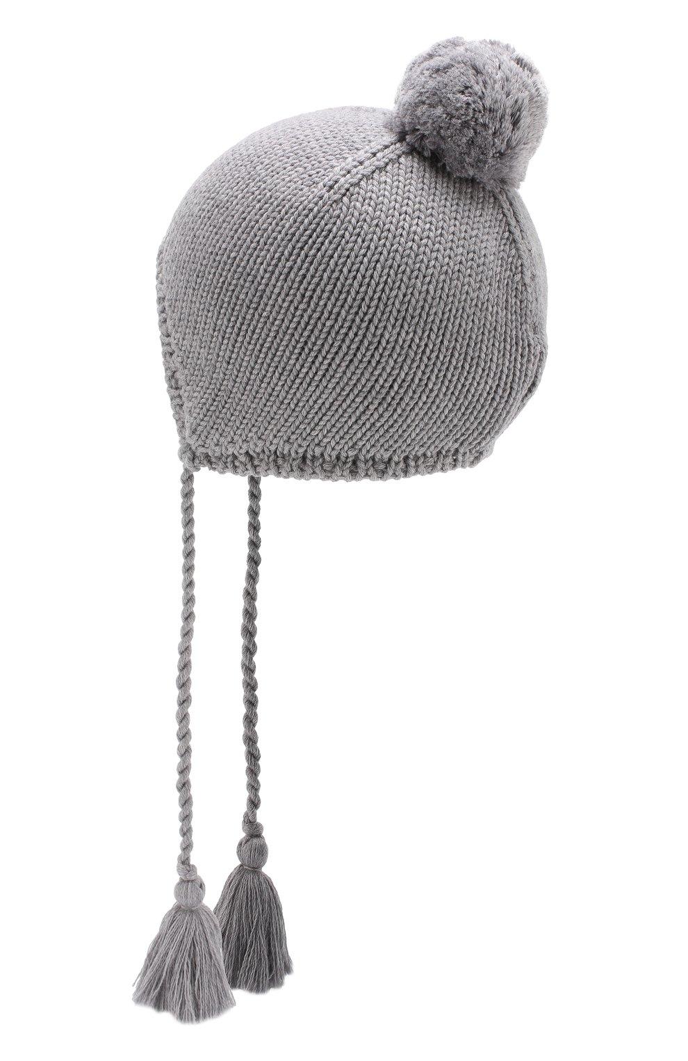 Шерстяная шапка с кисточками Moncler Enfant серого цвета   Фото №2