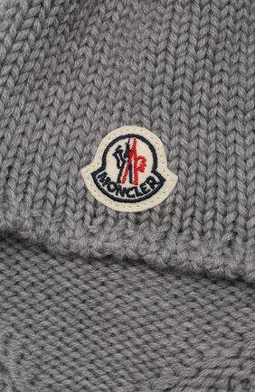 Шерстяная шапка с кисточками Moncler Enfant серого цвета   Фото №3