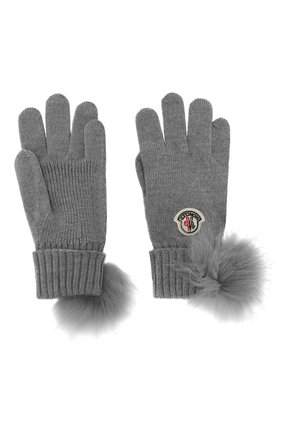 Шерстяные перчатки с помпоном | Фото №2