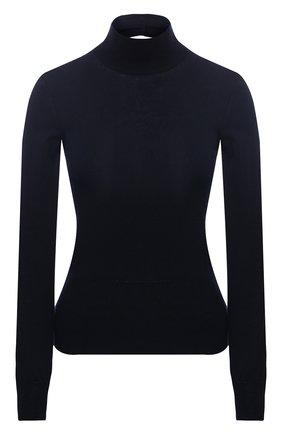 Хлопковый пуловер с воротником-стойкой Jacquemus темно-синий   Фото №1