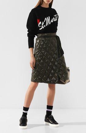 Кожаные кеды Gail Plus с текстильной вставкой Giuseppe Zanotti Design черные | Фото №1