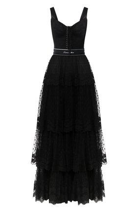 Приталенное многоярусное платье со шнуровкой | Фото №1