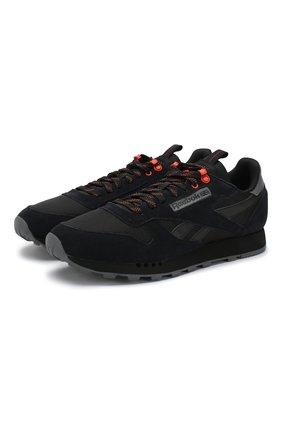 Комбинированные кроссовки Classic на шнуровке Reebok черные   Фото №1