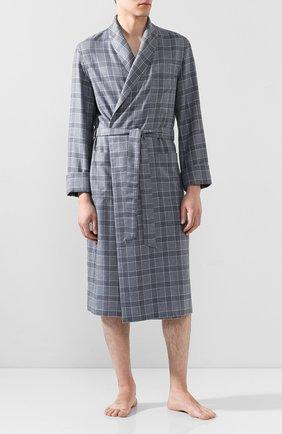 Мужской халат из смеси кашемира и шелка с поясом LORO PIANA голубого цвета, арт. FAI0861 | Фото 2