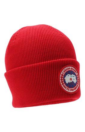 Мужская шерстяная шапка CANADA GOOSE красного цвета, арт. 6936M   Фото 1 (Материал: Шерсть; Кросс-КТ: Трикотаж)
