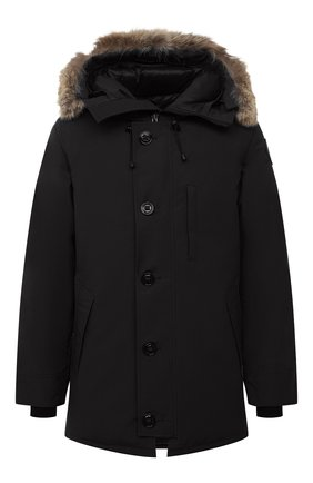 Мужская пуховая парка chateau с меховой отделкой CANADA GOOSE черного цвета, арт. 3426MB   Фото 1 (Материал внешний: Синтетический материал; Материал подклада: Синтетический материал; Рукава: Длинные; Мужское Кросс-КТ: Пуховик-верхняя одежда, Верхняя одежда, пуховик-короткий; Кросс-КТ: Куртка; Длина (верхняя одежда): До середины бедра; Статус проверки: Проверена категория; Материал утеплителя: Пух и перо)
