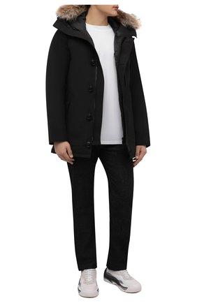 Мужская пуховая парка chateau с меховой отделкой CANADA GOOSE черного цвета, арт. 3426MB   Фото 2 (Материал внешний: Синтетический материал; Материал подклада: Синтетический материал; Рукава: Длинные; Мужское Кросс-КТ: Пуховик-верхняя одежда, Верхняя одежда, пуховик-короткий; Кросс-КТ: Куртка; Длина (верхняя одежда): До середины бедра; Статус проверки: Проверена категория; Материал утеплителя: Пух и перо)