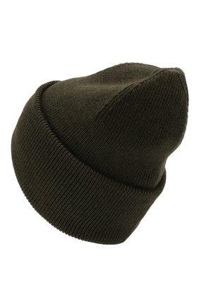 Шерстяная вязаная шапка с логотипом бренда Canada Goose хаки цвета | Фото №2