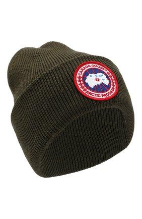 Шерстяная вязаная шапка с логотипом бренда Canada Goose черного цвета | Фото №1