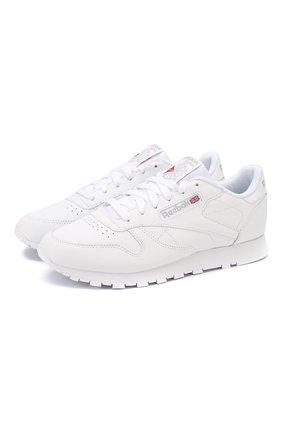 Кожаные кроссовки Classic на шнуровке Reebok белые   Фото №1