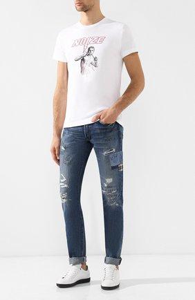 Хлопковая футболка с принтом Diesel белая   Фото №2