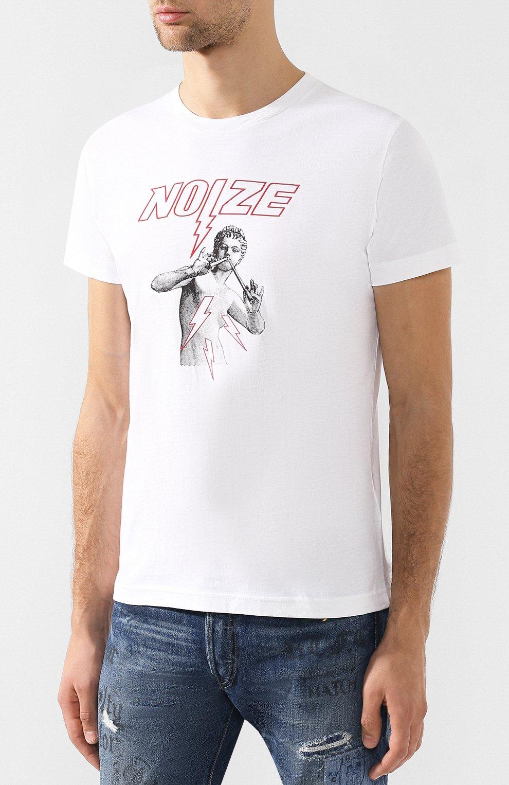 Хлопковая футболка с принтом Diesel белая   Фото №3