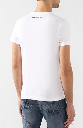 Хлопковая футболка с принтом Diesel белая   Фото №4